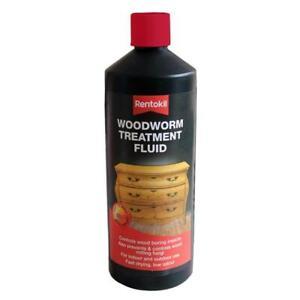 Rentokil Woodworm Wood Boring Insect Treatment Fluid, Indoor/Outdoor Use 1 Litre