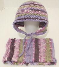 New Handmade Crocheted Earflap Hat & Knitted Cowl Set Purple Multi