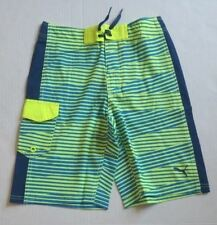 Puma Big Boy Swim Trunks Green Blue Stripe Shorts 91169005F MSRP $40