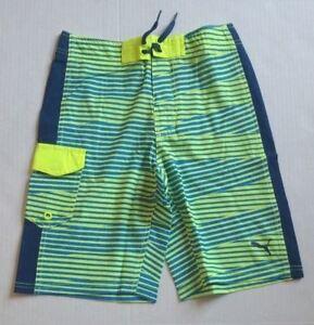 Puma Youth Big Boy Green Blue Stripe Swim Trunks Shorts 91169005F Size 14/16