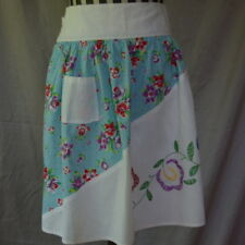 Half Apron Vintage White With Purple Red Flowers Embroidered Handmade Fun Cute
