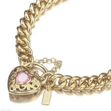 18K Yellow Gold GL Women's Solid Medium Euro Bracelet & Pink Filigree Heart 18cm