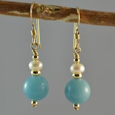 14k Gold Filled Natural Rich Blue Amazonite Small Dange Earrings