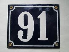 Hausnummer Emaille  Nr. 91 weisse Zahl auf blauem Hintergrund 12 cm x 10 cm