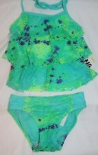 Breaking Wave Girls Tankini Swimsuit Size 5 Green Purple 2 Piece New With Tags