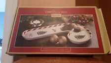 "Ceramic Spode Christmas Tree Peppermint Candy Cane Tray 11.5"" High x 7"" Wide,NIB"