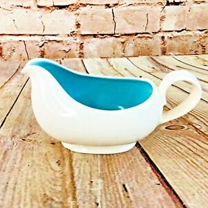 "Vtg White & robins egg blue Gravy Boat Kitchen Dinner Table Decor 7"" X 4"" MCM"