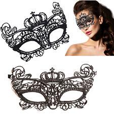 Crown Queen Victorian Venetian Masquerade Black Lace Elegant Eye Mask Costume