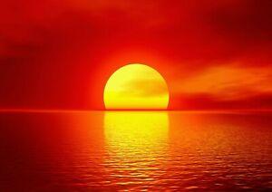 Sunset Ocean Sun Beautiful Scenic Poster Print A6 A5 A4 A3 A2 A1 A0