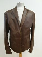N922 MENS DKNY JEANS BROWN COLLARED CASUAL LEATHER JACKET UK S EU 46