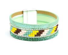 BC1705F - Bracelet Manchette Multi-Rangs Clous Strass et Pierres Style Brésil...