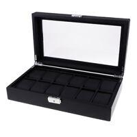 12 Slots Carbon Fiber Woven Pattern High-Capacity Watch/Jewelry Storage Box