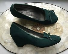 LOTUS DARK GREEN SUEDE WEDGE SHOES – FOOTFLEX – SIZE 4E – WIDE FITTING