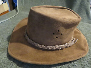 Walkabout Real Suede Leather Hat Sz S Made in Australia Aussie Cowboy Tan Beige