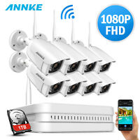 ANNKE Wireless 1080P 8CH NVR 2MP IR Night Vision CCTV Security Camera System APP