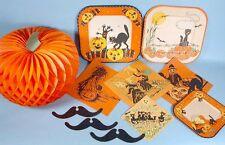 Halloween 11 Party Items 1940s-50s Honeycombe Crepe JOL 3 Plates 4 Napkins