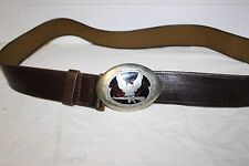 "Military Russian Type Eagle Rifle Brown Leather Belt Silver Steel Buckle 42""Use"
