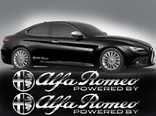 Alfa Romeo powered by Aufkleber 2Stk Seitenaufkleber SPIEGELCHROMEFFEKT Folie