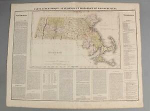 1825 Norman B. Leventhal French Geographical Statistical Map of Massachusetts NR