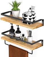 Amada Rustic Floating Shelves Wall Mounted, Solid Paulownia Wood Set of 2 for Ki