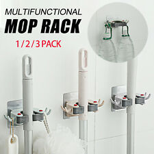 4Hook Wall Mount Mop and Broom Holder Hanger Organizer Storage Kitchen Tool Rack