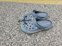 100% Authentic Crocs Crocband II Clogs, Gray & Blue Men's Size 10 Women Size 12