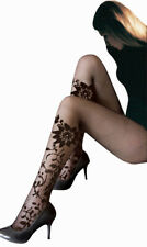 Collant Resille Noir Tatouage Motif Fleur SEXY BAS NEUF