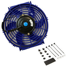 10″ Universal Slim Fan Push Pull Electric Radiator Cooling 12V Mount Kit BLUE