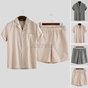 Mens Casual Linen Pajamas Set  Nightwear Check Tops & Shorts Comfy Sleepwear NEW
