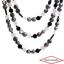 Estate Onyx Pearl Mystic Quartz Sterling Silver Large Beaded Necklace 211.3 G NR