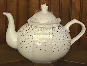 BRAND NEW GRACE'S TEAWARE WHITE W/GOLD POLKA DOTS EXQUISITE SHAPE LID W/GOLD