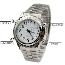 English Talking Blind Visually Impaired Watch Stainless Steel Quartz Wrist Watch
