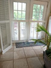 "Interior Solid Wood Plantation Shutters_White_ 76 1/8"" W x 44 1/2"" L_"