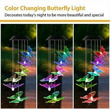 New listing Solar Color Changing Led Large Butterfly Wind Chimes Home Garden Decor Light Us