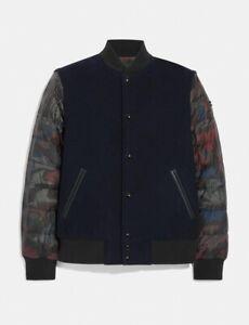 Coach Wool Hybrid Varsity Convertible Vest Puffer Jacket Deep Navy Med