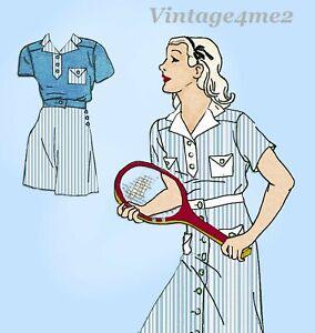 1930s Vintage New York Sewing Pattern 219 Uncut Girls Playsuit & Tennis Dress 10