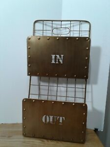 In & Out 2 Pocket Wall Storage Mail Letter Bill Organizer Hanging Metal