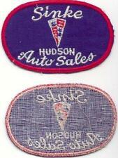 1940s SINKE HUDSON AUTO DEALERSHIP WHITE TRIANGLE UNIFORM PATCH RARE!
