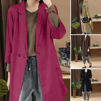 Women Long Sleeve Button Long Blazer Jacket Coat Casual Turn Down Collar Coat
