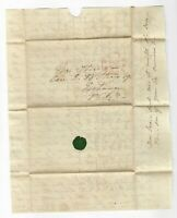 19TH CENTURY STAMPLESS COVER, NEW YORK to PHILADELPHIA PA, 5 CENT RATE