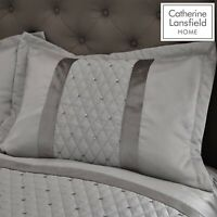 2 x Catherine Lansfield Sequin Cluster Silver Grey Pillow Shams Covers Cases New