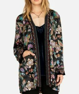 JOHNNY WAS VELVET MIX SMOKING JACKET EMBROIDERED DETAILS SIZE XL NEW WITH TAGS