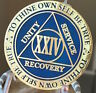 24 Year AA Medallion Blue Gold Plated Alcoholics Anonymous Sobriety Chip Coin
