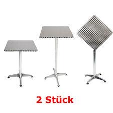 2 Stück Bistro Stehtisch Aluminium 60x60cm höhenverstellbar Klappbar Balkontisch