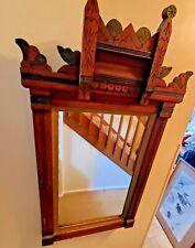 Antique Victorian Eastlake Walnut Hall Mirror
