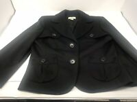 Ann Taylor LOFT Womens Size 6 Blazer Suit Jacket Black With Buttons and Pockets