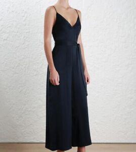 Zimmermann Sueded Tuck Jumpsuit | Sueded Silk, Belt, Navy Blue, Wide Leg $450 RP