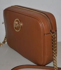 NWT MICHAEL KORS FULTON LARGE EAST WEST LEATHER CROSSBODY BAG PURSE LUGGAGE 82905f8a60742