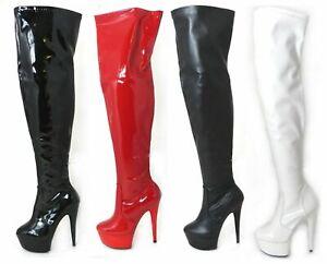 WOMENS MENS SEXY THIGH HIGH FETISH PLATFORM STILETTO HEEL FULL ZIP BOOTS UK SIZE