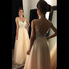 Open Back Lace Champagne Evening Gowns V-Neck A-line Beaded Long Prom Dresses